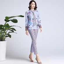 Chic OL elegant 2 pieces set print bowtie long sleeves Shirt pencil pants Fashion womens pantsuit A240