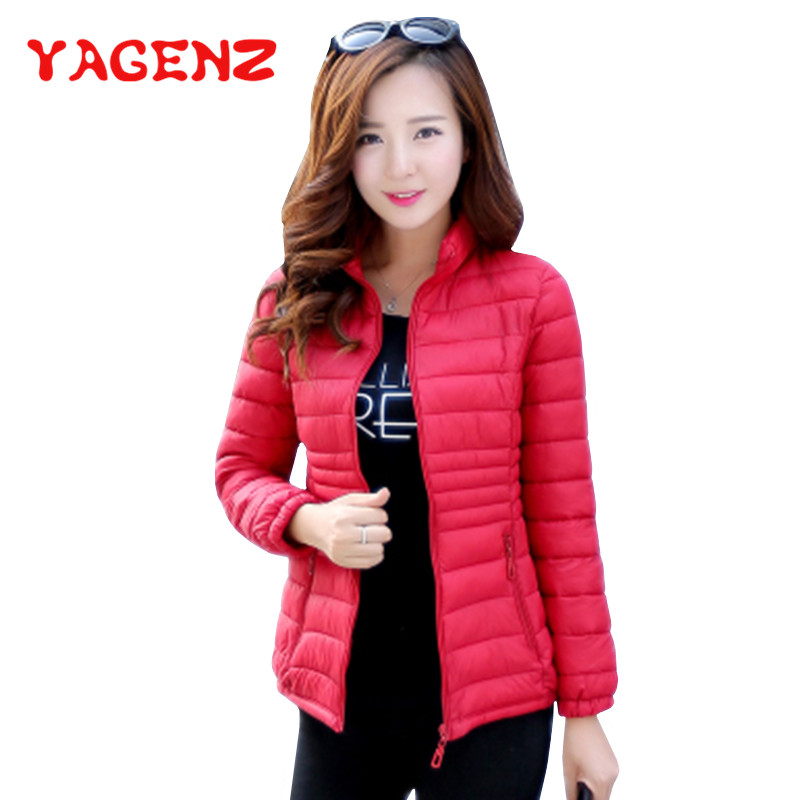 YAGENZ Plus Size 5XL Thin Down Cotton Short Coat Women Tops And Blouses   Parka   Coat Autumn Winter Jacket Female Warm Lattice Coat