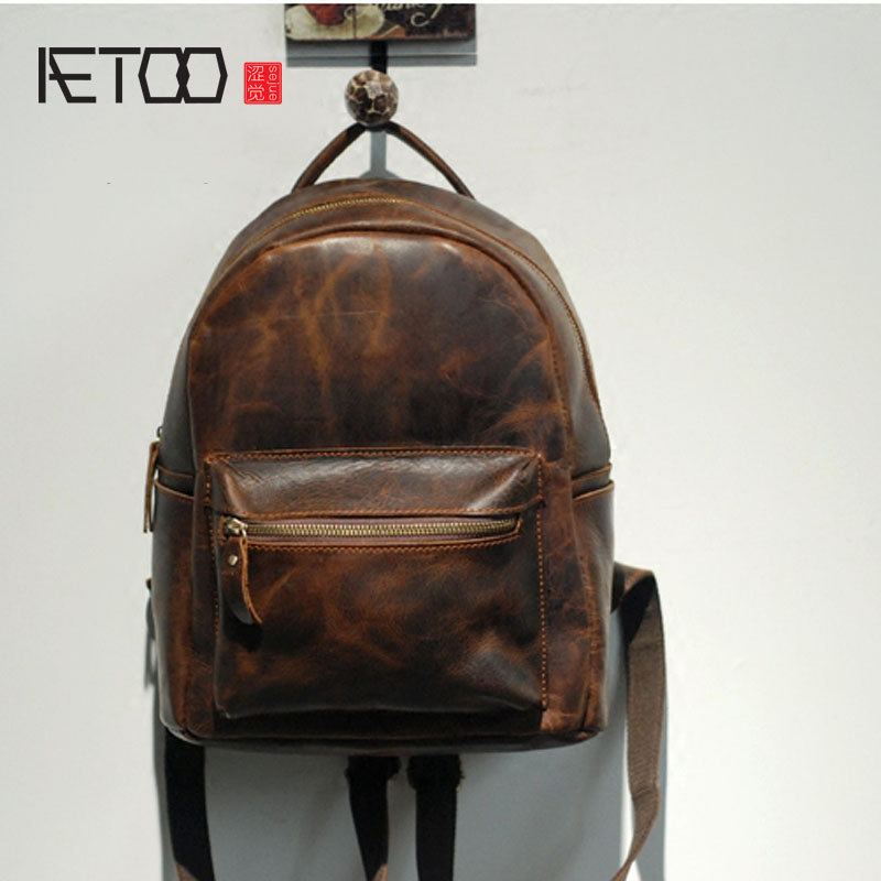 AETOO Crazy horse leather men and women backpack retro first layer leather travel backpack aetoo original backpack men leather casual travel backpack lady first layer leather handmade