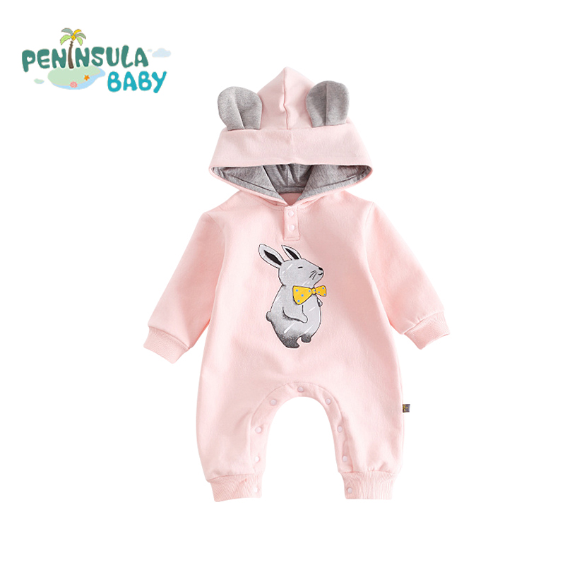 Baby Boys Girls Hooded Infant Jumpsuit Cotton Cartoon Animals Cute 3D Ears Long Sleeve Warm Baby Rompers Newborn Clothing 2017 spring newborn rompers baby boys girls clothes long sleeve cute cartoon face cotton infant jumpsuit queen ropa bebes 0 24m