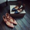 2016 resorte de las nuevas mujeres de moda boca superficial señaló zapatos planos correas cruzadas romanas zapatos planos mulheres