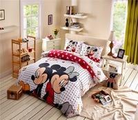 Disney pink minnie mouse bedding set TWIN size comforer set 4pcs for girls bedroom decor cotton duvet covers polka dot 3D kids