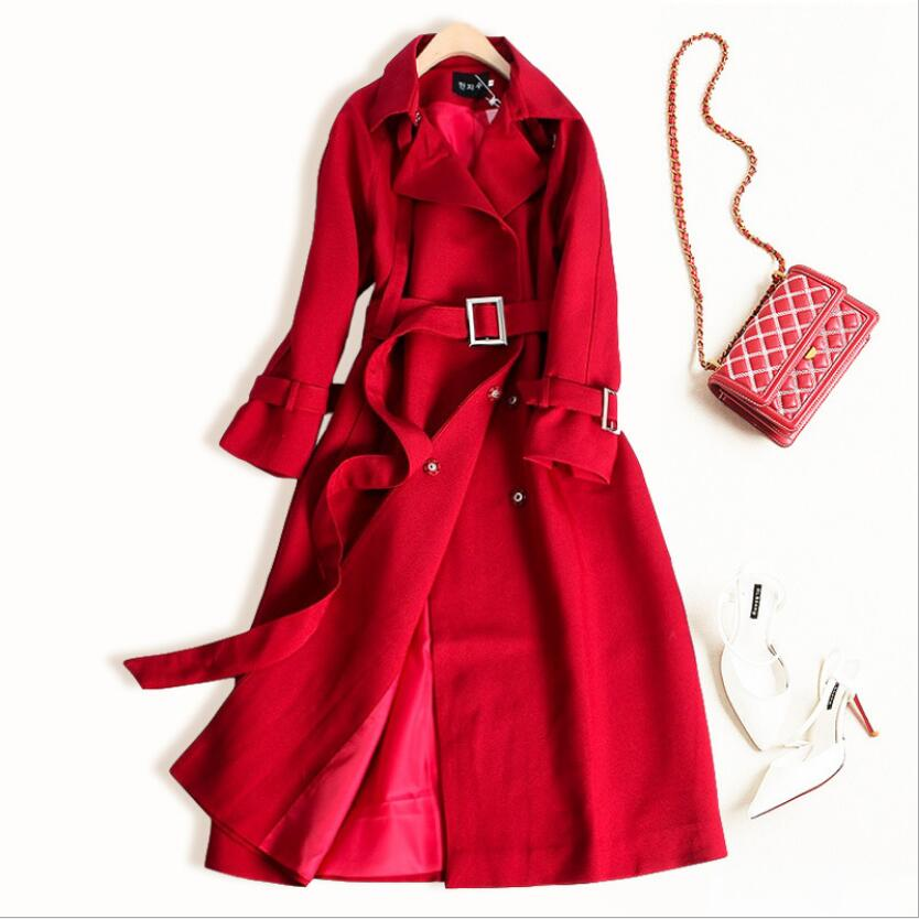 Hot Double Breasted Mid-long   Trench   Coat Women 2019 New Fashion Belt Cloak Polerones Mujer Windbreaker Female Abrigo S-2XL