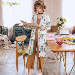 Image 5 - Ropa Para el hogar pijamas de algodón estilo japonés mujer Pijama estampado Kawaii Conjunto de pijama 3 piezas estampado Floral bata + pantalón de pierna ancha Pjs