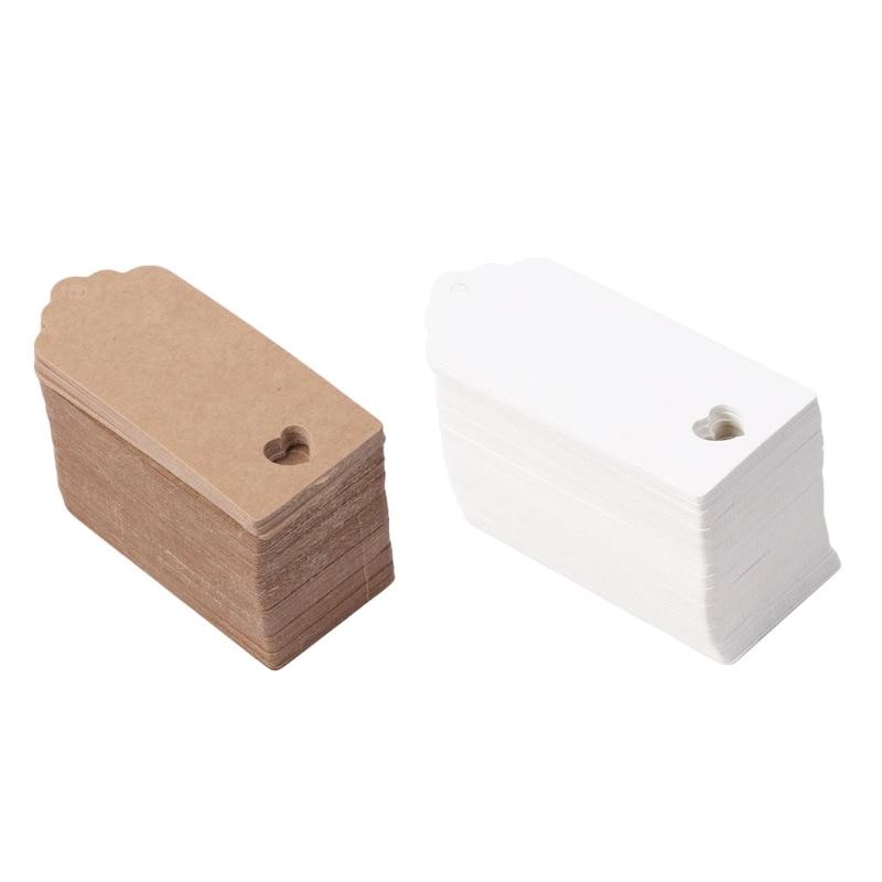 100Pcs Blank Kraft Paper Card Hang Luggage Tag Label Christmas Wedding Crafts