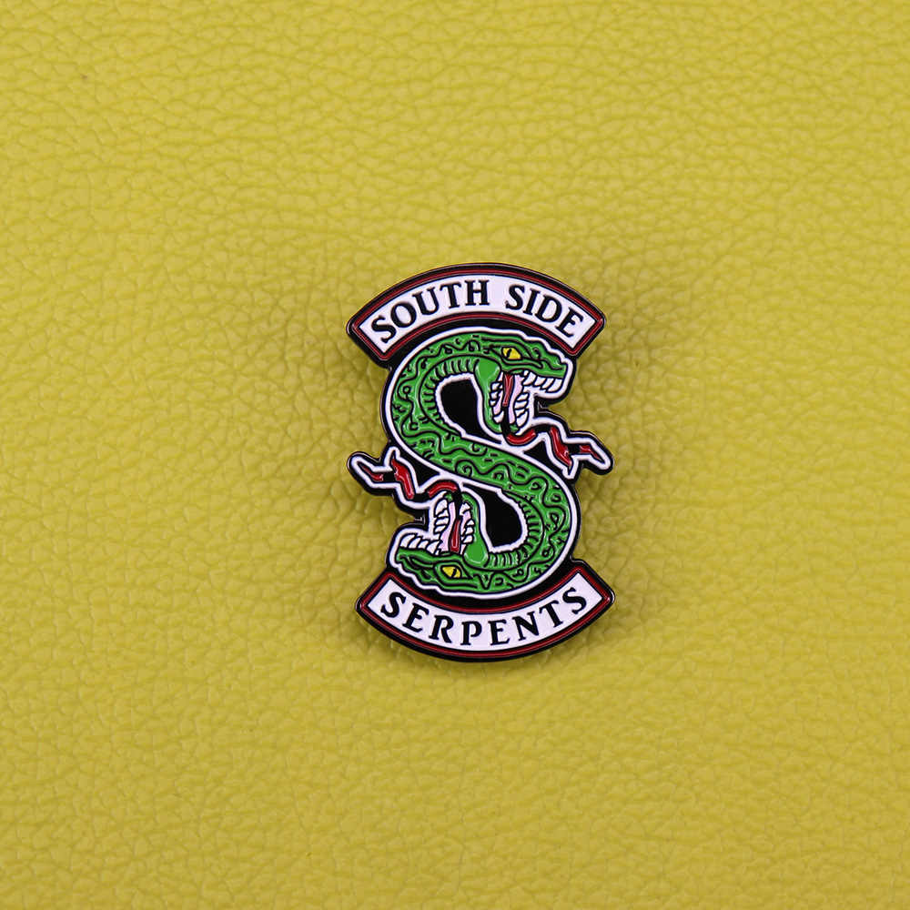 South side serpents enamel pin horror snake brooch reptile animal badge green python pin Riverdale fans gift