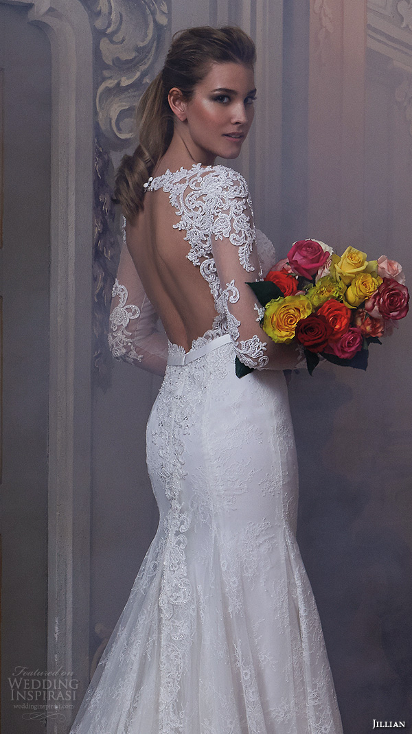 Elegant Lace Mermaid Wedding Dresses Sheer Long Sleeve Appliques ...