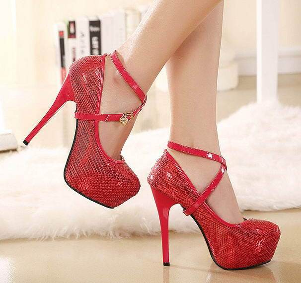 dac1005bdb19 Ladies Red Rhinestone Wedding Bridal Party Strappy Heels Shoes Balance  Platform Scale Womens White High Heel Ankle Strap Sandals
