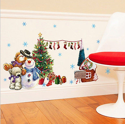 merry christmas wall sticker santa snowman vinyl wall decals window xmas seld adhesive holiday home decoration