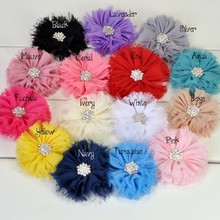 120pcs/lot 15colors Artificial Frayed Chiffon Flower With Snow Rhinestone Button Fluffy Fabric Flowers For Baby Headbands