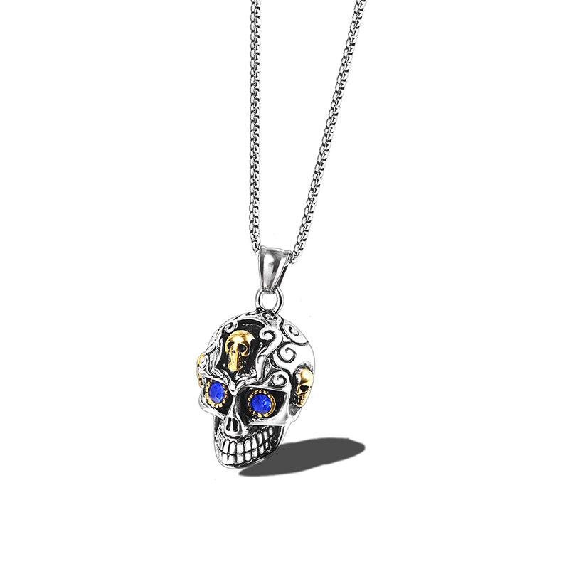 Colar de Pingente de Esqueleto Gótico Do Crânio Do açúcar Pingentes com Olhos Azuis do Dia Das Bruxas Esqueleto Colares de Jóias Para Homens