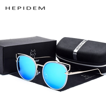 2017 New Fashion Women Brand Designer Mirrored Sunglasses Luxury Metal Cateye Frame Round Pink Blue Lens Sun Glasses with box v