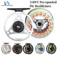 Maximumcatch 3-8WT Plastic/Aluminum Large Arbor Pre-spooled Fly Fishing Reel with Floating Fly Line Backing Line Leader Combo