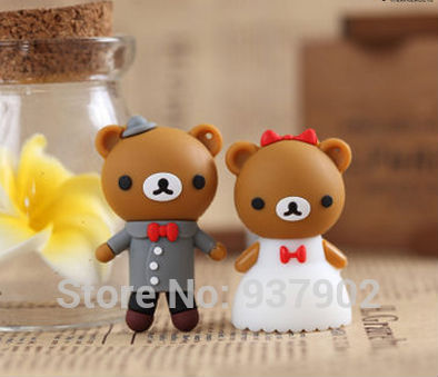 Mini romantic bears couple real capacity USB 2.0 USB Flash drive 2GB 4GB 8GB 16GB 32GB Memory Drive Stick Pen/Thumb/Car S255