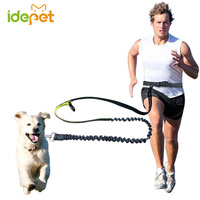 Elastic Waist Dog Leash Running Jogging Dog Lead Collar Sport Adjustable Nylon Leash With Reflective Strip