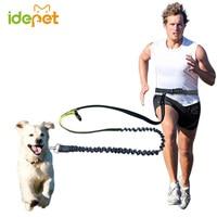 Elastic Waist Dog Leash Running Jogging Dog Lead Collar Sport Adjustable Nylon Leash With Reflective Strip