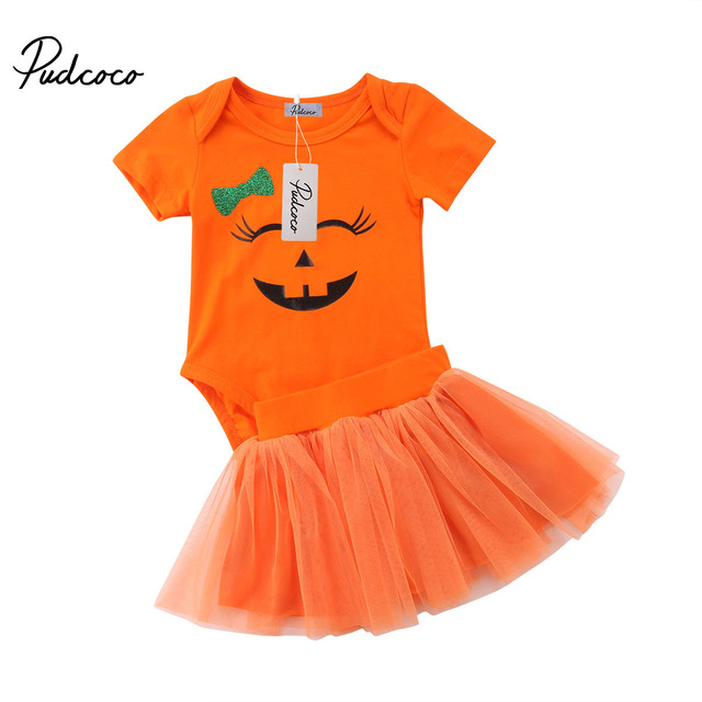 5f3d567ba Halloween Set Newborn Baby Girl Smiley Face Romper Top Tulle Skirt Infant  Party Outfit Clothes