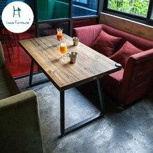 Луи Мода кафе столы Американский твердой древесины промышленный стиль мебели старый и простой стол Железный арт древний кофе