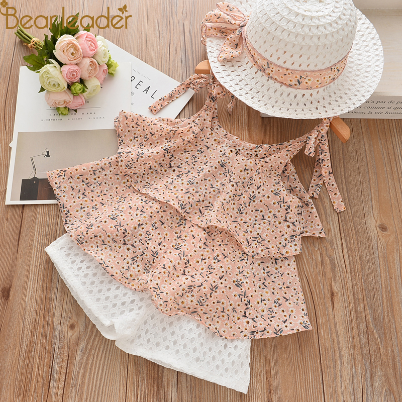 Bear Chief Women Clothes Units 2018 Summer season Children Garments Floral Chiffon Halter+Embroidered Shorts Straw Youngsters Clothes