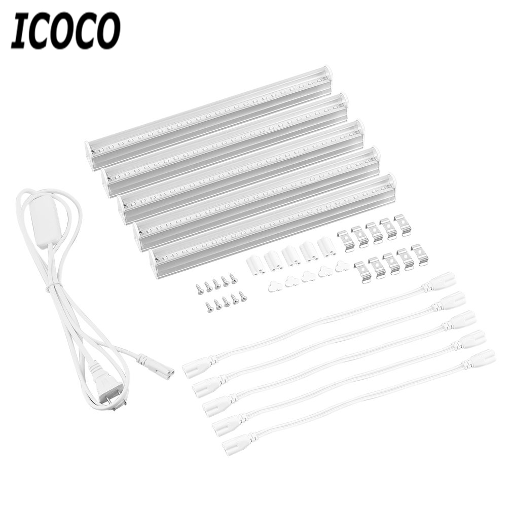 ICOCO 5pcs/set LED Grow Lights Full Spectrum T5 Tube Indoor Plant Hydroponic System Greenhouse Lighting LED Plants Growing Lamps
