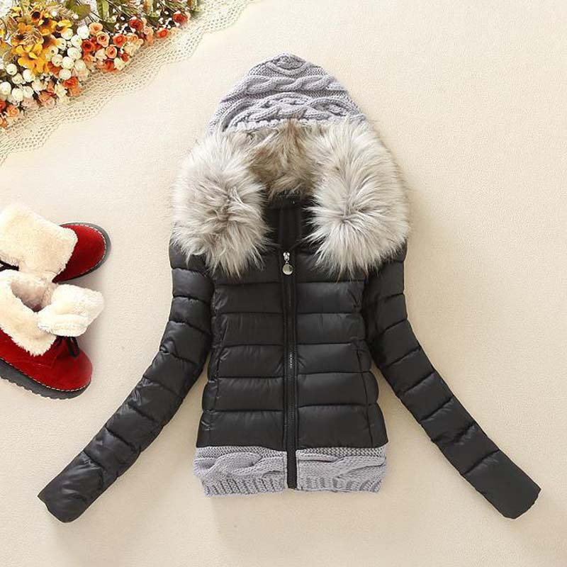 ФОТО 2015 Women winter thickening with hood short design wadded jacket large fur collar down jacket cotton -padded female parka DX111