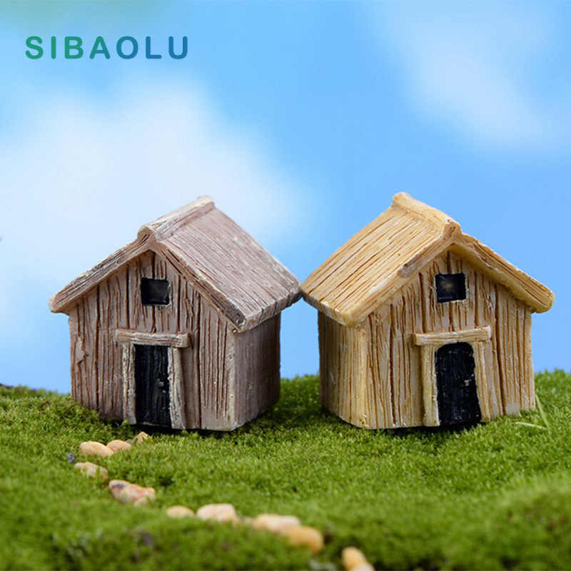 Wooden House Miniature figures decorative fairy garden animal statue Home Desktop Gift Moss ornaments resin craft TNB081