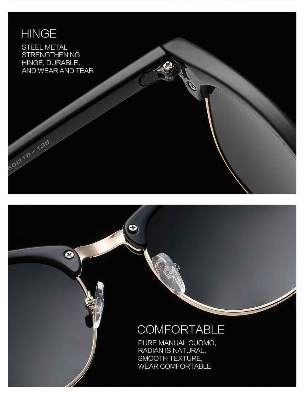 bf376efa88f6c ... LongKeeper Polarized Sunglasses Women Men Brand Designer Semi-Rimless  Sun Glasses Rivet Half Frame Eyewear