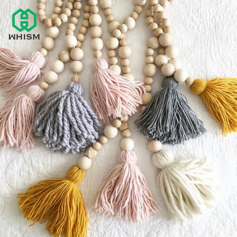 Hot Nordic Style Wooden Beads Tassel Pendant Bedroom Wall Decoration Nursery Tent Hanging Ornament for Photography