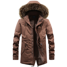 Loldeal cashmere Thick parkas Fur Hooded Collor Thicken Man Jackets Outwears Men Parka Coat