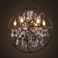 American RH Industrial Cage Crystal Rust Pendant Lights Nordic Iron Chain Pendan Lamp Vintage Hanging Light