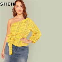 SHEIN Asymmetrical Neck Bishop Sleeve Skew Collar Blouses Vacation 2018 New  Trendy Plus Size Lantern Sleeve Belted Plaid Tops 6fa17d678ac4