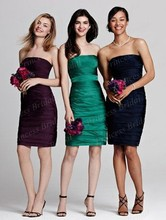 Free Shipping Indian Style Sheath Strapless Knee Length Pleated Bridesmaid Short Dress BD047