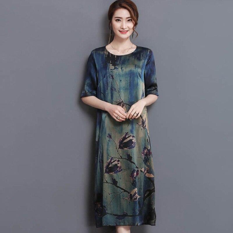2017 New Summer Middle Age High <font><b>Quality</b></font> Silk Print Long Dress Vintage Elegant Large Size Loose O-Neck <font><b>Women</b></font> Dress YP0137