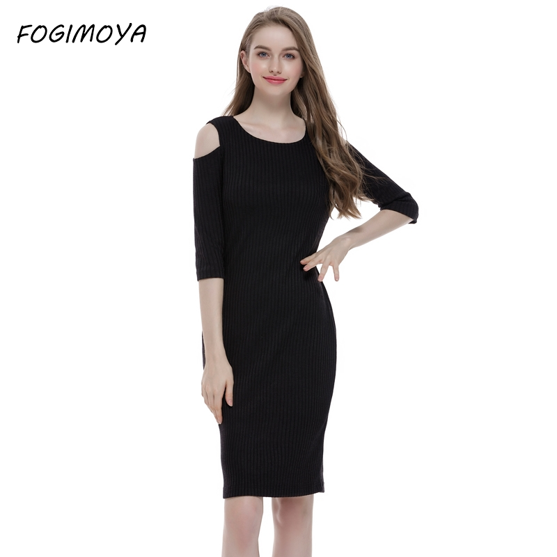 FOGIMOYA Dress Women Solid Bodycon Knitted Dress 2017 Autumn Winter Off the Shoulder Elegant Dresses Black Knee Length Dresses