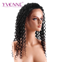 YVONNE 180% Density Brazilian Deep Wave Virgin Hair Lace Front Wigs Human Hair Natural Color Free Shipping