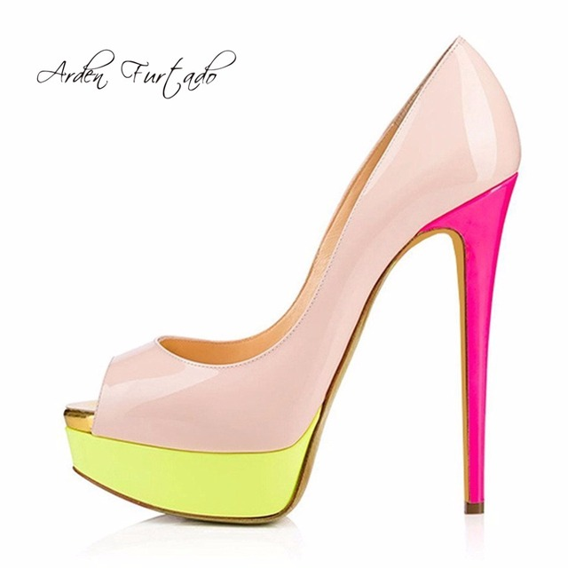 3868cd649f5d Arden Furtado 2018 new summer high heels 15cm fashion platform sexy peep  toe pink yellow striped party shoes for women 43 44 45