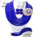 Lujo Royal Blue crystal sistemas de la joyería collar de la boda de nigeria perlas africanas Z705