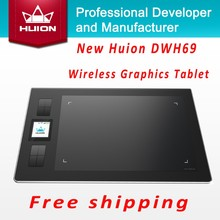 Huion DWH69 Wireless Graphics Drawing Tablets Professional Signature Tablets Kids Painting Pen Tablet Black