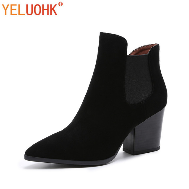 Cow Suede Women Boots Female Autumn High Quality Ankle Boots For Women Chelsea Boots Black