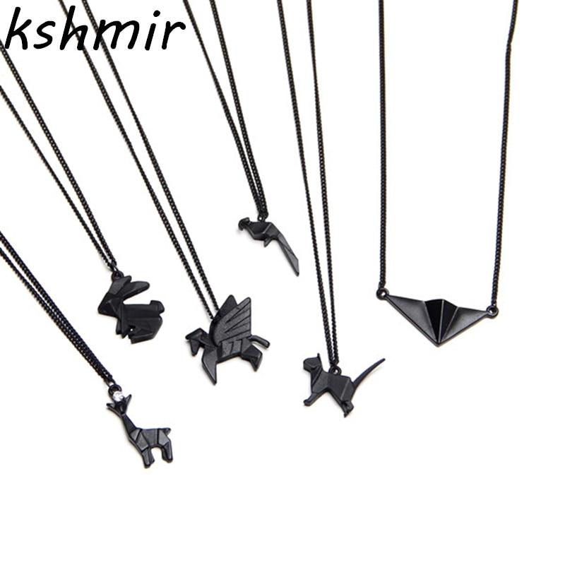 Diseño original modelo animal de origami extremadamente breve diablo joker Collar de cadena de hueso de collar de metal de viento europeo y americano