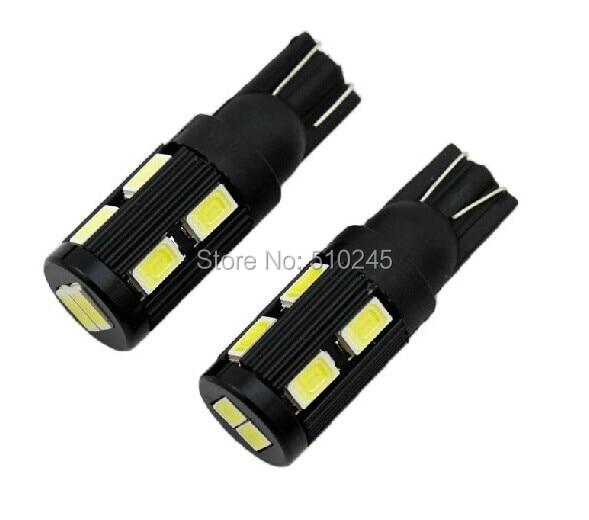 500x Free shipping Car Auto LED 194 W5W 10smd T10 10 led smd 5630 Wedge LED Light Bulb Lamp