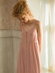 Image 3 - Cotton Dài Váy Ngủ Cho Nữ Thanh Lịch Công Chúa Sâu Hồng Đồ Ngủ Cardigan Rời Đầm