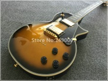 Best Electric guitar LP customised yellow solid center,black burst,crema inlay,letters at 12th,ebony fingerboard,gold parts!