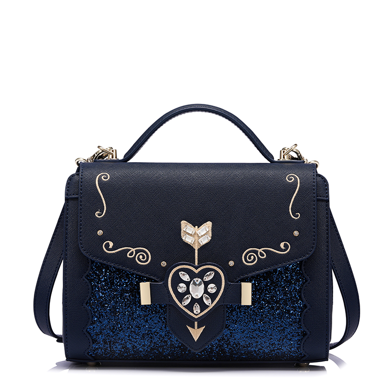 Women Handbags Metal Love Shape Cupid Diamond Shining Sequined Sweety Lady Totes Woman Bag Solid Bag Interior Zipper Pocket aidocrystal heart shape factory direct sell fashion woman diamond clutch for lady