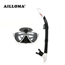 AILLOMA Camera Mask Snorkel Set Tube Diver Glasses Eyewear Silicone Waterproof Underwater Adult Diving Equipment Goggles sets(China)