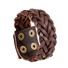 Handmade Retro Genuine Leather Woven Wide Men Bracelets & Bangles Punk Male Wristband Jewelry Gift For Boys