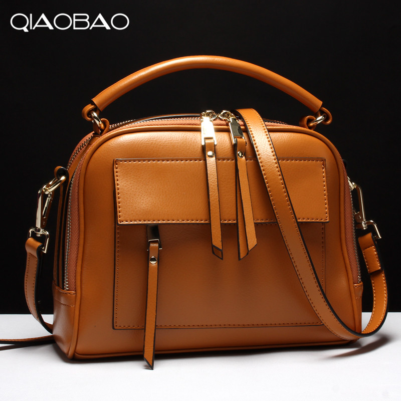 QIAOBAO 100% Genuine Leather bag women Crossbody bag fashion leather handbags female large shoulder bags hobos tote bag