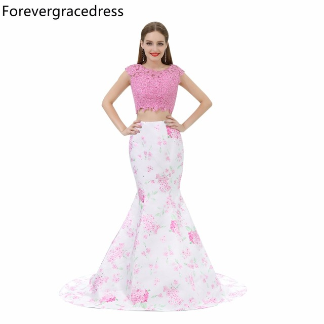 Forevergracedress Gorgeous Colorful Two Pieces Prom Dress Mermaid ...