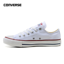 10a056b9db7c30 Converse Classic Canvas Low Top Skateboarding Shoes Unisex White  Anti-Slippery