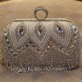 2016 womens clutch diamond tassel ring evening bags pearl hard bling day clutches bridal mini party handbag silver bags 814t
